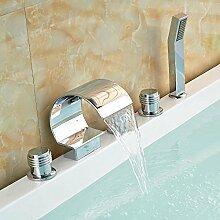 CZOOR Massiv Messing Badewanne Armatur mit Handbrause Verchromt drei Griffe