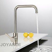 CZOOR Moderne Küche Spüle Mischbatterie mit Sanitär Schläuche Nickel gebürstet Messing Waschtisch Armatur Armaturen