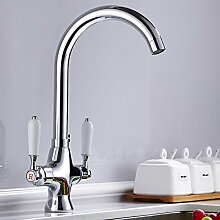 CZOOR Moderne Küche Wasserhahn Messing Chrom Kitchen Sink Faucet Kaltes und Warmes Wasser Mischbatterie Wasser sparen Belüfter