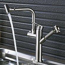 CZOOR Nickel gebürstet Kitchen Sink Faucet einzigen Griff Herausziehen Mischbatterie schwenkbarer Auslauf Countertop Kran
