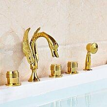 CZOOR Swan Form Messing Hand Dusche spritze Tub Faucet Deck montiert 3 Griffe Mischbatterie, 02.