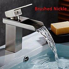 CZOOR Waschbecken Mischer-Hahn-Bassin-Hahn-Wasserfall-Tülle Einhand-Messing 5 Choices Badezimmer-Behälter-Wannen-Mischer-Hahn-Kalt- und Warmwasser, Gelb