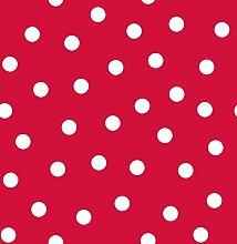 d-c-fix Acryl Soft Meterware Tischdecke 100% Baumwolle Breite & Länge wählbar Punkte Rot Eckig 120 x 390 cm Leinenstruktur Lotus Effekt abwaschbare Tischdecke