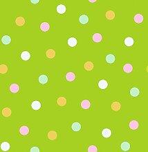 d-c-fix Acryl Soft Meterware Tischdecke 100% Baumwolle Breite & Länge wählbar Punkte Grün Eckig 80 x 140 cm Leinenstruktur Lotus Effekt abwaschbare Tischdecke