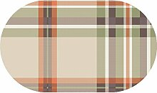 d-c-fix Acryl Soft Meterware Tischdecke 100% Baumwolle RUND OVAL Größe & Farbe wählbar Kariert Beige 130 x 200 cm Oval abwaschbare Tischdecke