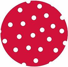 d-c-fix Acryl Soft Meterware Tischdecke 100% Baumwolle RUND OVAL Größe & Farbe wählbar Punkte Rot 130 cm Rund abwaschbare Tischdecke