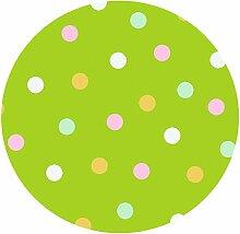 d-c-fix Acryl Soft Meterware Tischdecke 100% Baumwolle RUND OVAL Größe & Farbe wählbar Punkte Grün 80 cm Rund abwaschbare Tischdecke