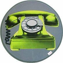 D&Co  - 1680099, Teppich Samt Runde , 60 Cm , Phone , Velours Bedruckt , Ohne