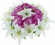 D DOLITY Seiden Chrysantheme und Lily Blumen Kranz