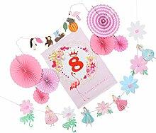 D DOLITY Zahl Papier Deko Fächer Girlande Partydekoration Runde Papierfächer Party Dekofächer Bunting Wimpelketten Geburtstag - 8, 60 x 80 cm