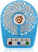 D-FantiX Tragbare Lüfter Batteriebetrieben Tischventilator, 3-Zoll Mini Tisch Ventilator mit 3-Leistungsstufen, Persönlicher Fan für Reise, Büro, Laptop, Outdoor (Blau)