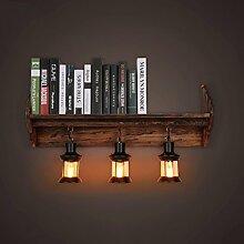 D G F Massivholz Bücherregal Wand Lampe Retro