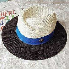 D. hat weibliche faltbar Sommer Sonnenschirm Sonnenschutz gap Strand koreanischen M-Wort markieren und elegante Hüte, M (56-58 cm) m, Schwarz