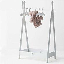 D&L Kinder Massivholz Garderobenständer,Baby Boden stehend Mehrzweckraum Kleiderbügel Regale Für Kind Schlafzimmer Wohnzimmer Hut-mantel Jacke Schal Spielball -Weiß 125.3x82cm