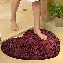 D&LE Weiche Fußmatte mit Herzmotiv, rutschfest,