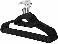 d.Stil Kleiderbügel Samt 10 Stück Jackenbügel mit rutschfeste Oberfläche, 360° drehbarer Haken (Schwarz)