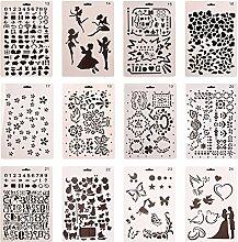 Da Jia Inc 12pcs Kinder Zeichenschablonen mit sortiert Design Tragbare Messing Vorlage Multifunktional Zeichnen Planer Schablone kreative Handwerk Malerei pädagogisch KunstWerkzeug(Pattern 13-24)