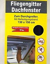 Dachfenster Fliegengitter 130 x 150 cm - mit Reißverschluss zum Durchgreifen - Top Insektenschutz bei offenem Fenster