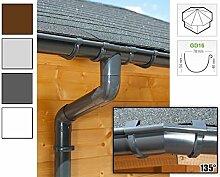 Dachrinnen/ Regenrinnen Set   achteckiges Dach (8 Seiten)   GD16   in anthrazit, weiß, braun oder grau! (Umriss bis 19.25 m (Kompl. Set), Anthrazit)