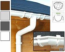 Dachrinnen/ Regenrinnen Set   achteckiges Dach (8 Seiten)   GD16   in anthrazit, weiß, braun oder grau! (Umriss bis 19.25 m (Kompl. Set), Weiß)