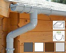 Dachrinnen/ Regenrinnen Set | Pultdach (1 Dachseite) | GD16 | in 4 Farben! (Komplettes Set bis 3.50 m, Hellgrau)