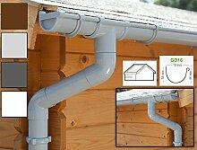 Dachrinnen/ Regenrinnen Set | Satteldach (2 Dachseiten) | GD16 | in anthrazit, weiß, braun oder grau! (Komplettes Set bis 10.50 m, Hellgrau)