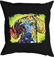 Dachshund - Bezug für Kissen - Hunde Neon Pop Art Motiv - Dachshund - buntes Hunde Portrait - Motiv Kissenhülle Deko 40x40cm schwarz : )