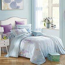 DACHUI Beidseitig 100% Tencel Frühling und Sommer Bettwäsche set Atmungsaktiv glatte Heimtextilien Bettwäsche Kollektion, Hellblau, 200 X 230 cm