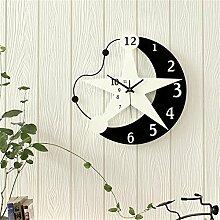 DACHUI Wanduhr für das Wohnzimmer Schlafzimmer European Fashion ruhig Quarz Pendel, Uhr Moderne pastoralen Stil Schwarz und Weiß (Größe: 40 cm * 40 cm)