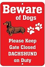 Dackel Hund BEWARE OF FUN Home Decor Metall Schild