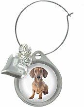 Dackel Hund Bild Design Weinglas Anhänger mit schicker Perlen