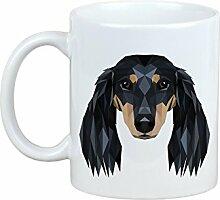 Dackel Langhaarig, Becher mit einem Hund, Tasse, Keramik, neue geometrische Sammlung
