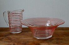 Dänische Vintage Glas Salatschale & Krug von