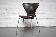Dänischer 3107 Stuhl aus Leder von Arne Jacobsen
