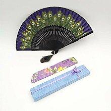Daeou Weiblicher Fan antiken Pfau Seide Fan