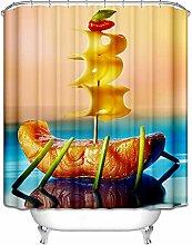 Daesar Lustiger 3D Duschvorhang Antischimmel Käse
