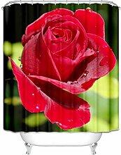 Daesar Lustiger 3D Duschvorhang Antischimmel Rot