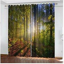Wald Fenstervorhang Blickdicht Jugendzimmer 214x115CM Schlafzimmer Vorh/änge Gardinen Verdunkelung Gr/ün Daesar Vorh/änge /Ösen Wohnzimmer Modern 2er Set