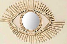 DAFLOXX Wandspiegel Zain 70cm Rattan Bambus Auge Eye Braun Beige Spiegel Rund