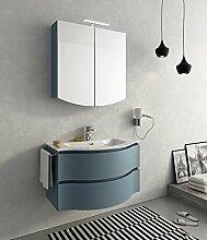 dafnedesign. COM–Badmöbel Größe: L.85p.52/35cm Finish: Tranche 'blau Taube Top: Top Waschbecken in ocritech mit Schale Modell–100% Made in Italy