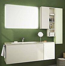 dafnedesign. COM–Badmöbel TOP in Glas, Waschbecken A Vista und Türen und Schubladen Grau, Weiß, Grün hell mit Spiegel mit Licht LED wie abgebildet–100% Made in Italy