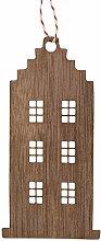 Daheim Deko.de Holz Ornament Haus Nussbaum +++