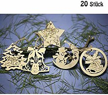 DAHI Weihnachtsanhänger Holzanhänger 20 Stück