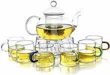 Dahlia Borosilikatglas Tee-Geschenk-Set (Teekanne