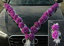 DAHLIEN GIRLANDE Auto Schmuck Braut Paar Rose Deko Dekoration Autoschmuck Hochzeit Car Auto Wedding Deko PKW (Violett / Weiß)