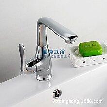 dahuuyus Modern Style Elegant und praktisch Home Küche und Bad faucetscold und heißem Wasser Wasserhahn, Waschtisch Wasserhahn Badezimmer Sanitär WASCHBECKEN WASSERHAHN Kupfer Chrom Silber Waschbecken Wasserhahn