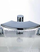dahuuyus Moderne Wasserhähne Küche Waschbecken Wasserhähne breitgefächert Wasserfall Badezimmer Keramik-Kartusche Badewanne Mischbatterie Wasserhahn zeitgenössische Messing Wasserfall Waschbecken Wasserhahn