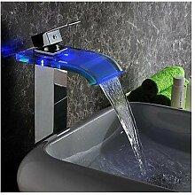 dahuuyus Style Elegant und praktisch Home Küche und Bad Armaturen Modern LED waterfahydroelectric Power Glas Waschbecken Wasserhahn Chrom-Finish (TA)