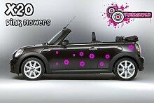 Daisy Blumen Auto Vinyl Aufkleber Grafik Aufkleber Set X20Aufkleber (Pink)