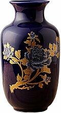 Dajidali@ Keramik Vase Heimtextilien dekoratives Kunsthandwerk, blau H 28 X D 16.